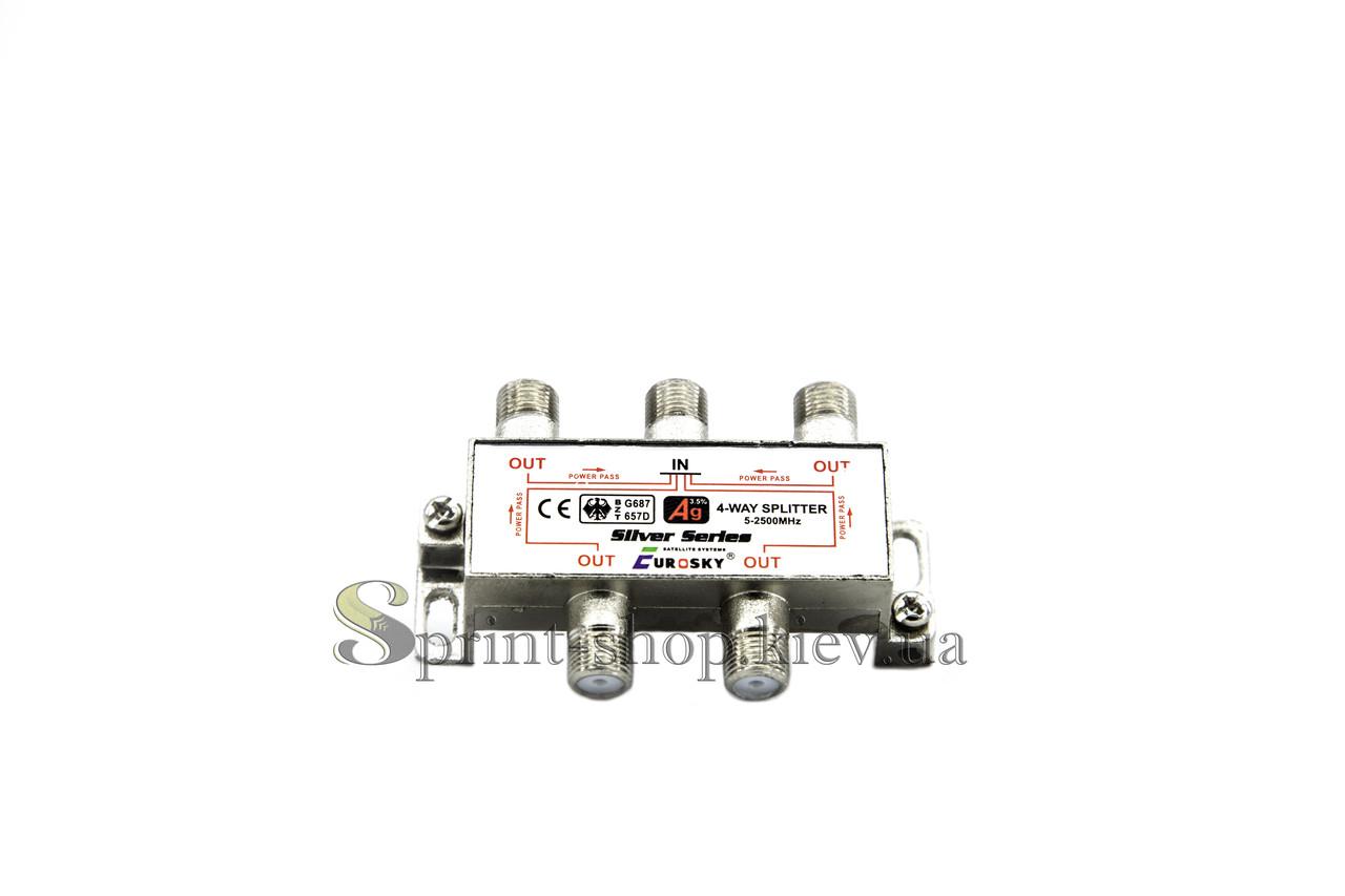 Делитель Split 4 way 5 - 2500МГц с проходом питания EUROSKY