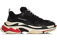 Женские кроссовки для спорта и туризма Balenciaga Triple S - Black\White\Red, материал - замша