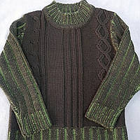 Свитер теплый цвета хаки с шерстяной нитью вязанный