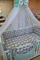 Детский постельный комплект  Asik из 8 эл совушки на сером с горошком и зигзагом №214, мятный, фото 1