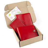 Подарочный набор №5: обложка на паспорт + обложка на документы + портмоне П1 (красный)