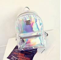 Женский рюкзак стильный цвета серебристый хамелеон опт , фото 1