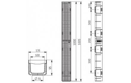 Лоток ЛВ -10.11,5.9,5 LIGHT DN95 пластиковый с решеткой пластиковой кл.А , фото 2