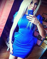 Платье синее с карманами,плечи фонарики