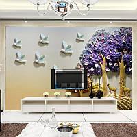 """3D фотообои """"Волшебные деревья и птицы"""""""