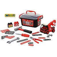 Набор инструментов в чемоданчике 36 эл. + машинка эвакуатор  Wader57136