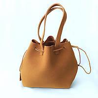 Замшевая сумка на средних ручках, сумка шоппер , шопер