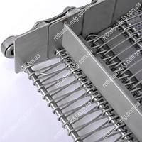 Транспортерная сетка с поперечными стержнями, захватами и вставными элементами.