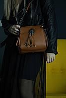 Коричневая кожаная сумка кросс-боди, крос боди с бахромой
