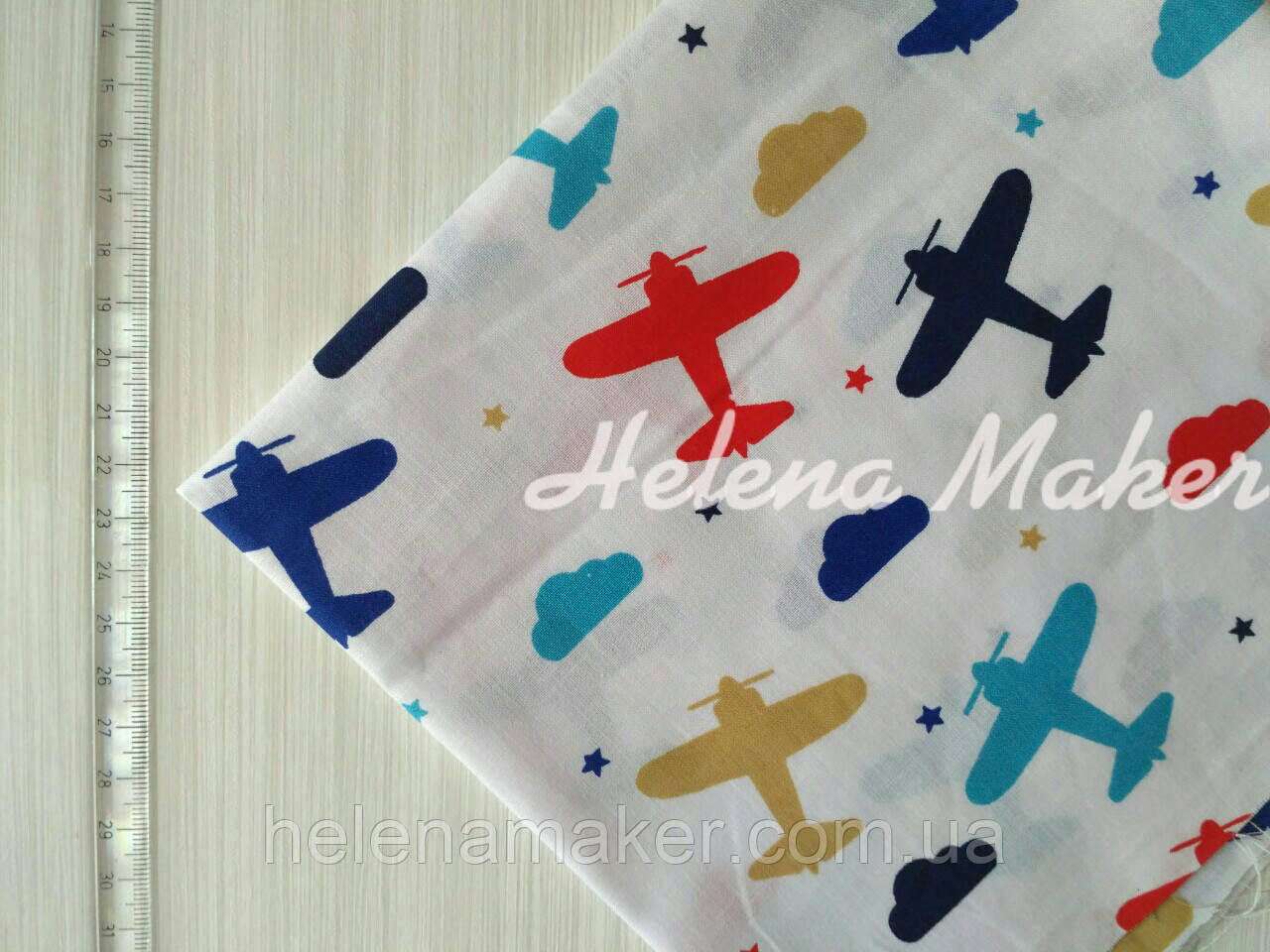 Ткань хлопковая самолетики 40*40 см