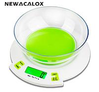 Весы кухонные Newacalox T389 (±0,1г/3000г) с функцией тары и съемной чашей.