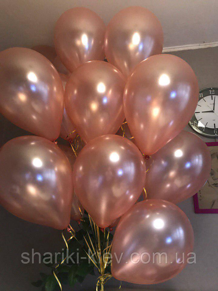 Шарики гелевые латексные Розовое Золото Металлик Перламутр 30 см. на День рождения