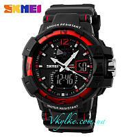 Спортивные часы SKMEI SHOCK RESISTANT(1040) ЧЕРНЫЕ С КРАСНЫМ