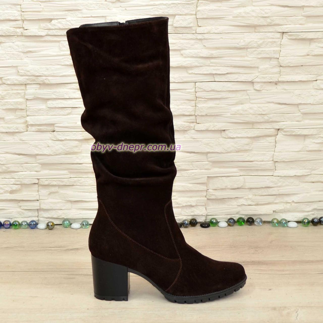 Сапоги женские зимние коричневые замшевые на устойчивом каблуке