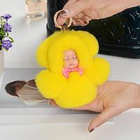 Куколка в желтом - мех кролика, фото 1