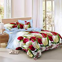 Евро комплект постельного белья 200*220 из сатина Нежный тюльпан