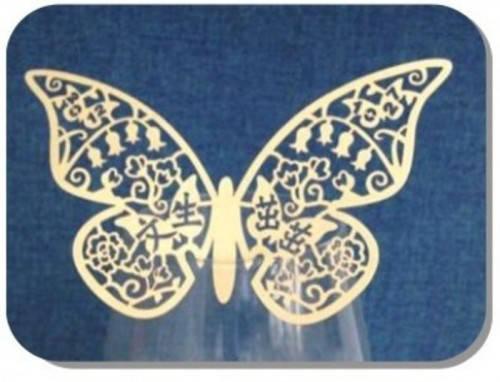 Декор бумажный ажурный для бокалов в форме бабочки 73*110 мм (уп 20 шт), фото 2