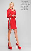 Кокетливое приталенное платье Milena с яркими элементами декора из стрейч-эко-кожи (Красное) (147)3130