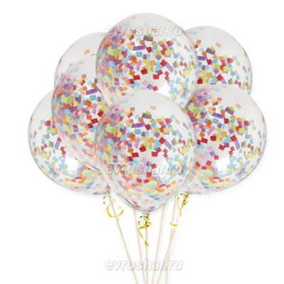 Прозрачные гелиевые шарики с конфетти