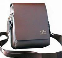 Стильная мужская сумка KANGAROO (коричневая 21*17см.) Сумка-планшетка - сумка через плечо.