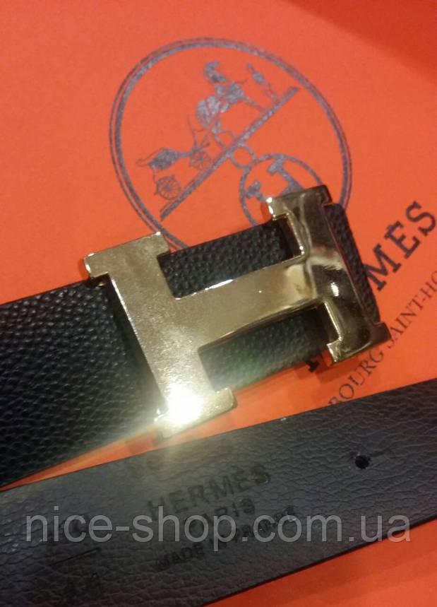 Ремень Hermes черный с золотой пряжкой, фото 2