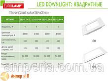 Светильник встраиваемый квадратный DownLight EUROLAMP LED 4W 3000K, фото 2