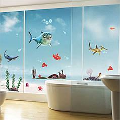"""Наклейки на стену, наклейки в ванную """"акулы и  рыбка Немо"""" (лист 50*70см)"""