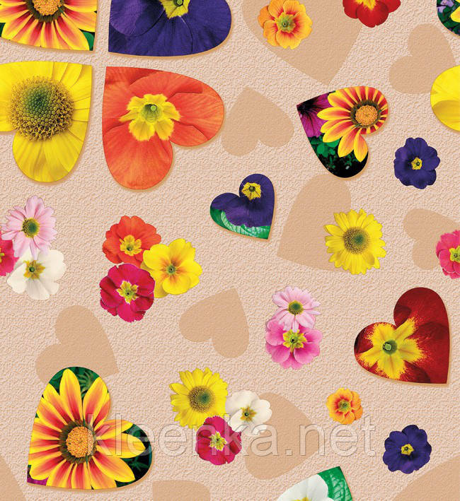 Клеенка Люкс с ярким цветочным принтом с ламинированной поверхностью на флизелиновой основе