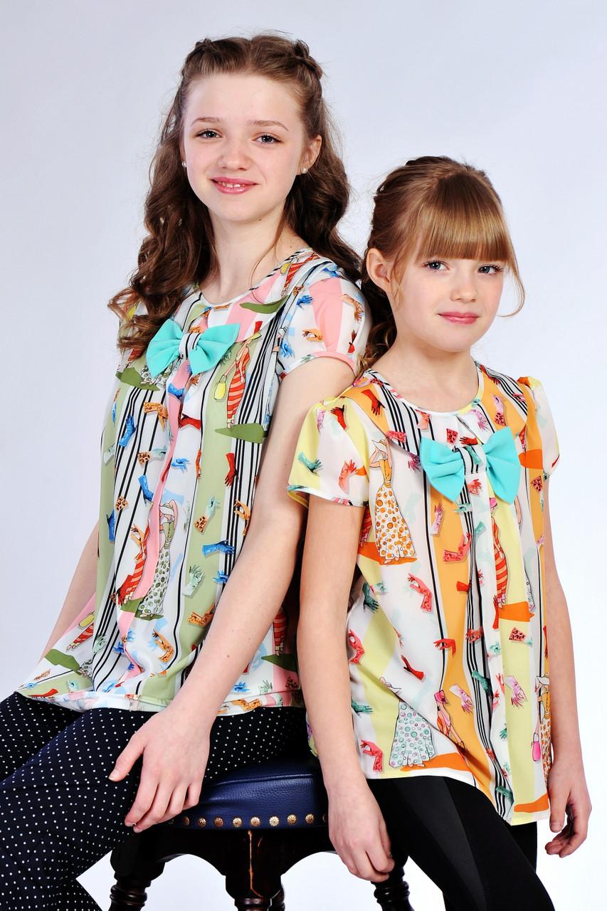 Красивая блузочка на девочку шифон короткий рукав