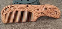 Расческа гребень из сандала натуральная Птицы и пионы