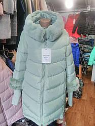 Удлиненная женская куртка  CLASSic 803 мята 56 маломер 1750