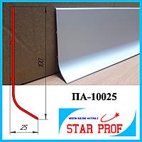 Промышленный высокий алюминиевый плинтус ПА-10025, 3,0 м Серебро