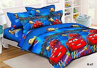 Полуторный комплект постельного белья 150х220 из ранфорса Тачки (Grand prix)