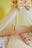 """Детский постельный комплект  Asik из 8 эл """"Сердечка с горошком""""  №212, бежево-розовый, фото 1"""