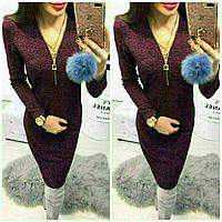 Женское приталенное платье с V-образным вырезом. Размер 42, 44, 46, 48. Ткань ангора софт. Разные цвета