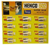 "Клей супер ""Henco 502"" 3г/12"