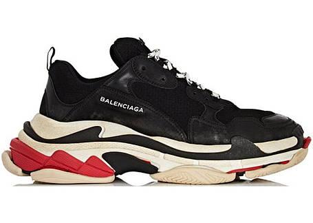 Кроссовки мужские Balenciaga Triple S - Black\White\Red, материал - натуральная замша, подошва - пена, фото 2