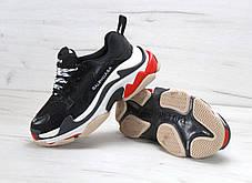 Кроссовки мужские Balenciaga Triple S - Black\White\Red, материал - натуральная замша, подошва - пена, фото 3
