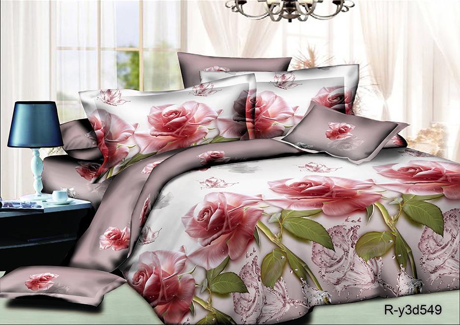 Полуторний комплект постільної білизни 150х220 з ранфорсу Дамаська троянда