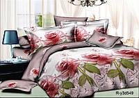 Двуспальный комплект 180*220 с евро простынью 220*240 из ранфорса Дамасская роза