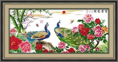 Цветы к богатству (Павлин) D165/1 Набор для вышивки крестом