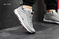Кроссовки мужские  Nike 97 ( пресс кожа+плотная сетка) в серебре