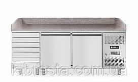 Стол холодильный двухдверный Hendi 232842 с ящиками, гранитная столешница