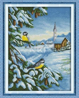 Синички зимой D184 набор для вышивки крестом