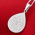 Серебряная подвеска Капелька  с камнями - Сияющий кулон Капелька, фото 3