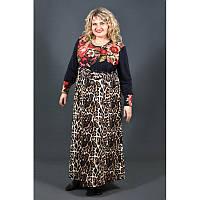 Теплое платье Славянка кашемир батал 60, 62, 64. Красивое женское платье больших размеров. Красный