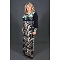 Теплое платье Славянка кашемир батал 60, 62, 64. Красивое женское платье больших размеров. Бирюза