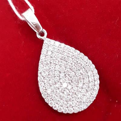 Серебряная подвеска Капелька  с камнями - Сияющий кулон Капелька
