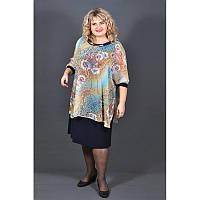 Нарядное платье Далида больших размеров 60, 62, 64, 66. Красивое платье для полных женщин. Бирюза
