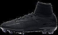 Футбольные бутсы Nike Mercurial Superfly V Academy Pack Black (Найк) с носком черные